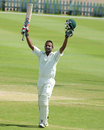 Rakep Patel celebrates his maiden first-class century, Canada v Kenya, ICC Intercontinental Cup, Sharjah, 3rd day, March 20, 2013
