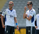 Kevin Pietersen and Stuart Broad share a laugh, Auckland, March 21, 2013