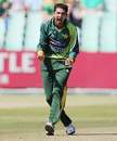 Junaid Khan reacts after taking a wicket