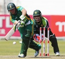 AB de Villiers pushes one through the leg side