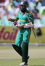 Hashim Amla walks off after being dismissed off the first ball of the match