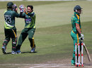 Saeed Ajmal celebrates AB de Villiers' wicket, South Africa v Pakistan, 4th ODI, Durban, March 21, 2013