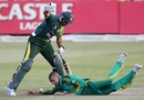 Robin Peterson dives into Shahid Afridi, South Africa v Pakistan, 4th ODI, Durban, March 21, 2013
