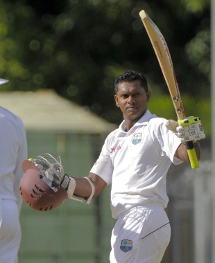 Shivnarine Chanderpaul scored his first Test hundred against Zimbabwe, West Indies v Zimbabwe, 2nd Test, Roseau, 2nd day, March 21, 2013