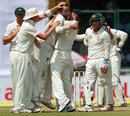 Nathan Lyon celebrates Virat Kohli's wicket, India v Australia, 4th Test, Delhi, 2nd day, March 23, 2013