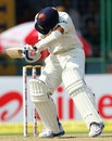 Ajinkya Rahane gets hit on the helmet