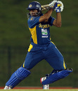 Tillakaratne Dilshan plays an aggressive shot