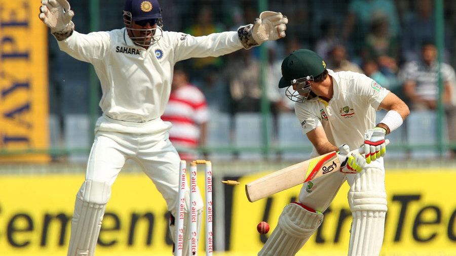 Glenn Maxwell was bowled by Ravindra Jadeja for eight runs