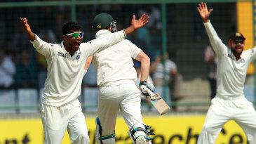 Ravindra Jadeja appeals for a wicket