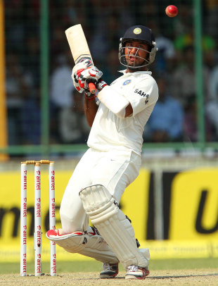 Cheteshwar Pujara about to play a ramp shot, India v Australia, 4th Test, Delhi, 3rd day, March 24, 2013