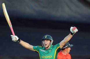David Miller reacts after South Africa's victory, South Africa v Pakistan, 5th ODI, Benoni, March 24, 2013
