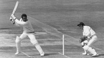 Garry Sobers cuts on his way to an unbeaten 150