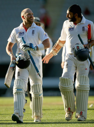 Matt Prior and Monty Panesar walk off after securing a draw, New Zealand v England, 3rd Test, Auckland, 5th day, March 26, 2013