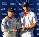 Brendon McCullum and Alastair Cook with the shared series trophy