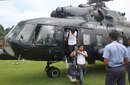 Mushfiqur Rahim and Anamul Haque step off a helicopter