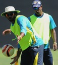 Lasith Malinga and Nuwan Kulasekara try their hands at football, Pallekele, March 27, 2013