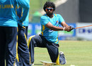 Lasith Malinga trains during a practice session in Pallekele