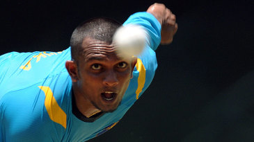 Ishan Jayaratne bowls during a practice session in Pallekele