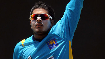 Angelo Perera trains during a practice session in Pallekele