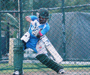 Mominul Haque plays a cut shot in the nets, Pallekele, March 30, 2013