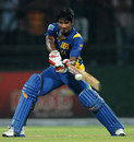 Kusal Perera powers the ball through the off side, Sri Lanka v Bangladesh, only Twenty20, Pallekele, March 31, 2013