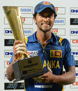 Dinesh Chandimal with the series trophy, Sri Lanka v Bangladesh, only Twenty20, Pallekele, March 31, 2013