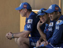 John Wright, Ricky Ponting and Anil Kumble watch Mumbai Indians train
