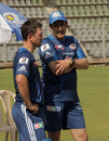 Ricky Ponting and Anil Kumble at a Mumbai Indians training session, Mumbai, March 31, 2013