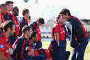 Alastair Cook shares a joke with Ravi Bopara and David Masters, Chelmsford, April 2, 2013