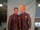 Ryan ten Doeschate and Brett Lee in Indian formal clothes at a promotional event, March 2013