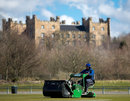 The Durham groundsman cuts the first wicket of the season