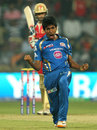 Jasprit Bumrah exults after picking up Virat Kohli, Royal Challengers Bangalore v Mumbai Indians, IPL, Bangalore, April 4, 2013