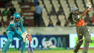 Akshath Reddy is bowled for 27
