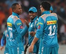 Marlon Samuels celebrates the wicket of Cameron White with team-mates, Sunrisers Hyderabad v Pune Warriors, IPL, Hyderabad, April 5, 2013