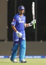 Rahul Dravid gestures after completing his fifty