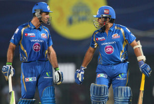 Ricky Ponting discusses with Sachin Tendulkar after he was dismissed leg before, Chennai Super Kings v Mumbai Indians, IPL, Chennai, April 6, 2013