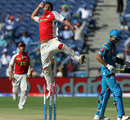 Praveen Kumar celebrates Manish Pandey's dismissal, Pune Warriors v Kings XI Punjab, IPL, Pune, April 7, 2013