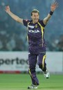 Brett Lee celebrates Shane Watson's wicket, Rajasthan v Kolkata, IPL 2013, Jaipur, April 8, 2013
