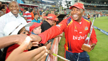 Fans congratulate Lions coach Geoff Toyana on the Twenty20 title win