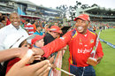Fans congratulate Lions coach Geoff Toyana on the Twenty20 title win, Lions v Titans, Ram Slam T20 Challenge final, Johannesburg, April 7, 2013