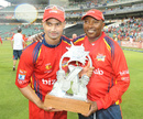 Lions captain Alviro Petersen and coach Geoff Toyana hold the Twenty20 trophy, Lions v Titans, Ram Slam T20 Challenge final, Johannesburg, April 7, 2013
