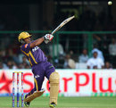Rajat Bhatia hits one to the boundary, Royal Challengers Bangalore v Kolkata Knight Riders, IPL, Bangalore, April 11, 2013