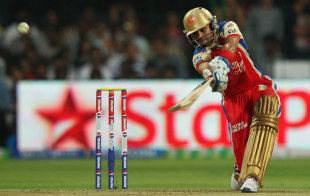 Virat Kohli hits to the off side, Royal Challengers Bangalore v Kolkata Knight Riders, IPL, Bangalore, April 11, 2013