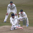 Gareth Berg sweeps during a sixth-wicket partnership of 116, Nottinghamshire v Middlesex, County Championship, Division One, Trent Bridge, 2nd day, April 11, 2013