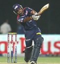 Kedar Jadhav smacks an Ishant Sharma slower ball, Delhi Daredevils v Sunrisers Hyderabad, IPL, Delhi, April 12, 2013