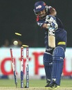Shahbaz Nadeem's off stump is knocked backed by a Dale Steyn delivery, Delhi Daredevils v Sunrisers Hyderabad, IPL, Delhi, April 12, 2013