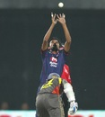 Shahbaz Nadeem swallows a return chance, Delhi Daredevils v Sunrisers Hyderabad, IPL, Delhi, April 12, 2013