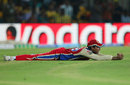 Mayank Agarwal takes a sharp outfield catch falling forward, Chennai Super Kings v Royal Challengers Bangalore, IPL 2013, Chennai, April 13, 2013