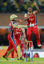 J Syed Mohammad celebrates after dismissing S Badrinath, Chennai Super Kings v Royal Challengers Bangalore, IPL 2013, Chennai, April 13, 2013