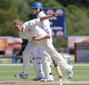 Timm van der Gugten in his follow through, Namibia v Netherlands, ICC Intercontinental Cup 2011-13, 1st day, Windhoek, April 11, 2013